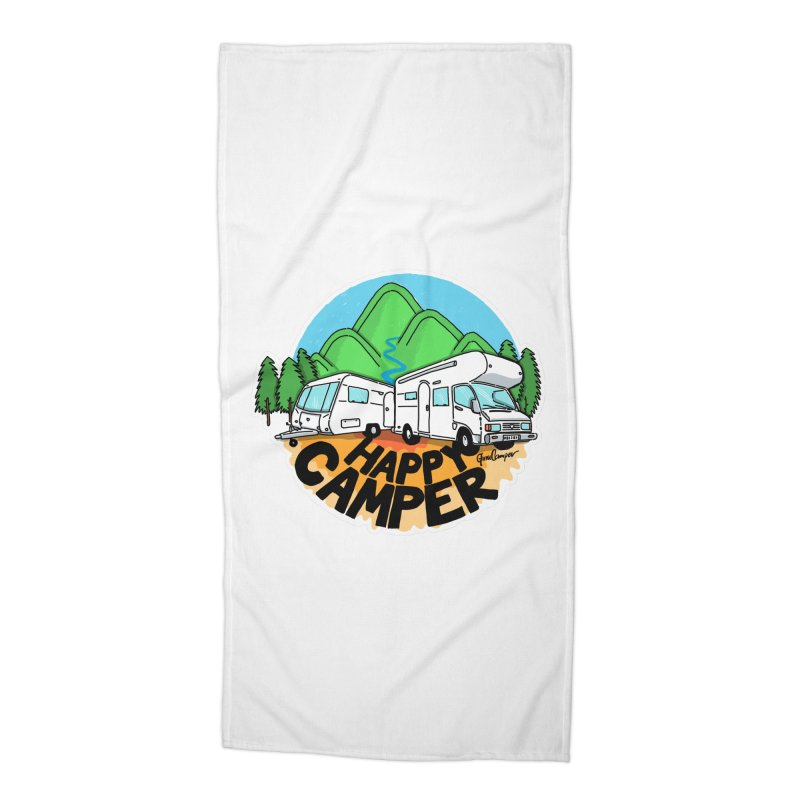 Happy Camper Mountains Accessories Beach Towel by Illustrated GuruCamper
