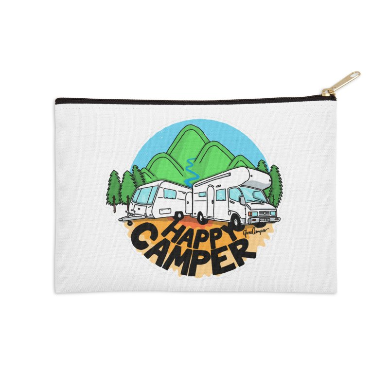Happy Camper Mountains Accessories Zip Pouch by Illustrated GuruCamper