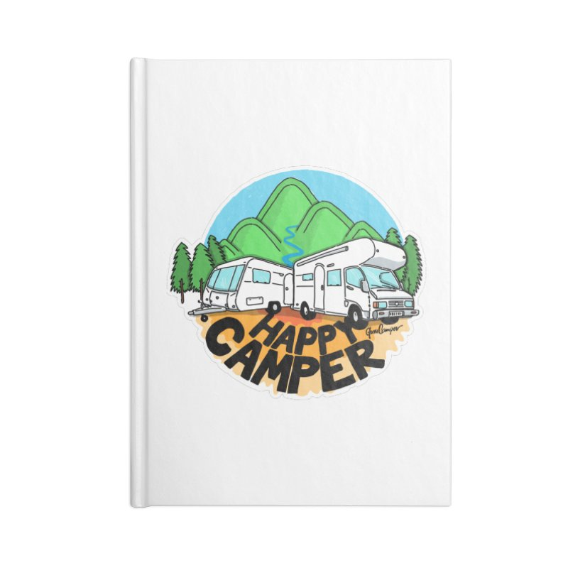 Happy Camper Mountains Accessories Lined Journal Notebook by Illustrated GuruCamper