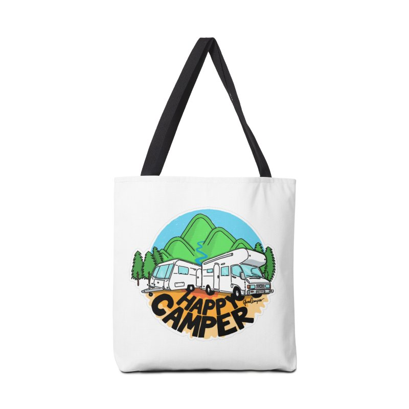 Happy Camper Mountains Accessories Tote Bag Bag by Illustrated GuruCamper