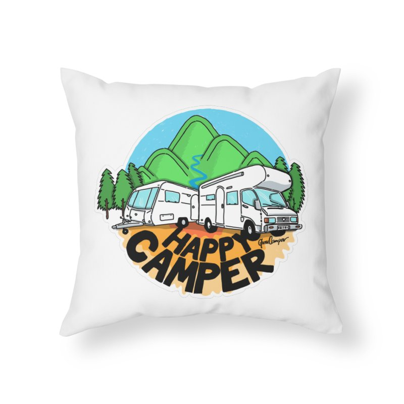 Happy Camper Mountains Home Throw Pillow by Illustrated GuruCamper