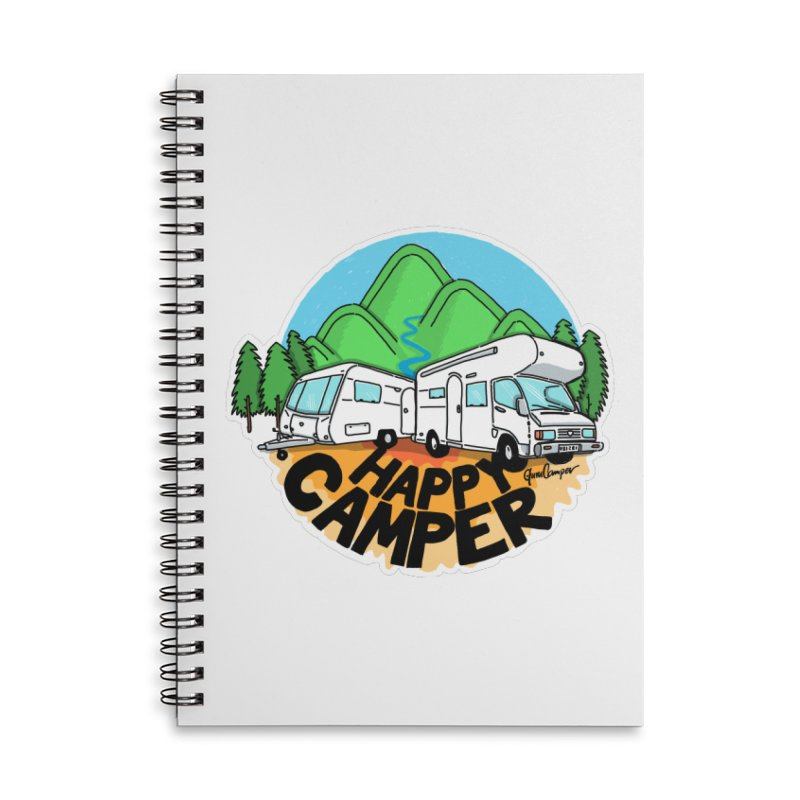 Happy Camper Mountains Accessories Lined Spiral Notebook by Illustrated GuruCamper