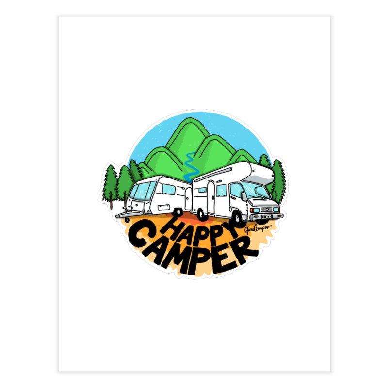 Happy Camper Mountains Home Fine Art Print by Illustrated GuruCamper