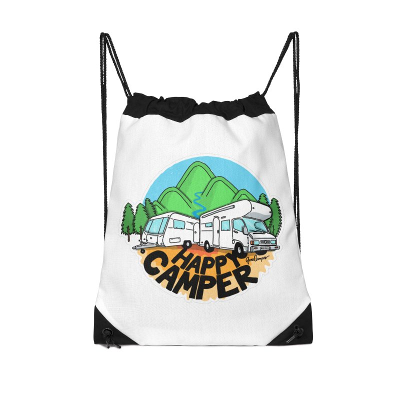 Happy Camper Mountains Accessories Drawstring Bag Bag by Illustrated GuruCamper
