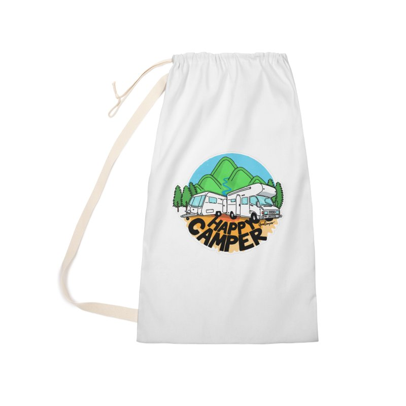 Happy Camper Mountains Accessories Laundry Bag Bag by Illustrated GuruCamper