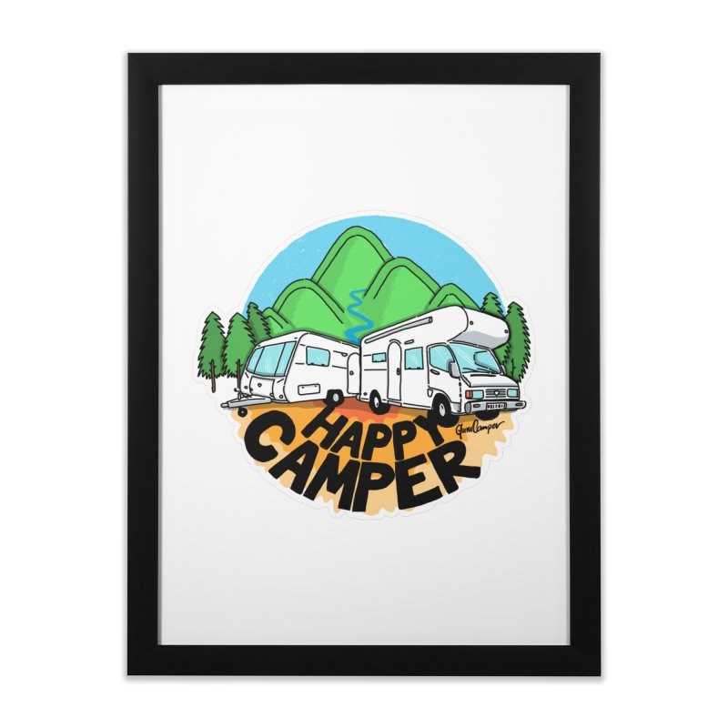 Happy Camper Mountains Home Framed Fine Art Print by Illustrated GuruCamper