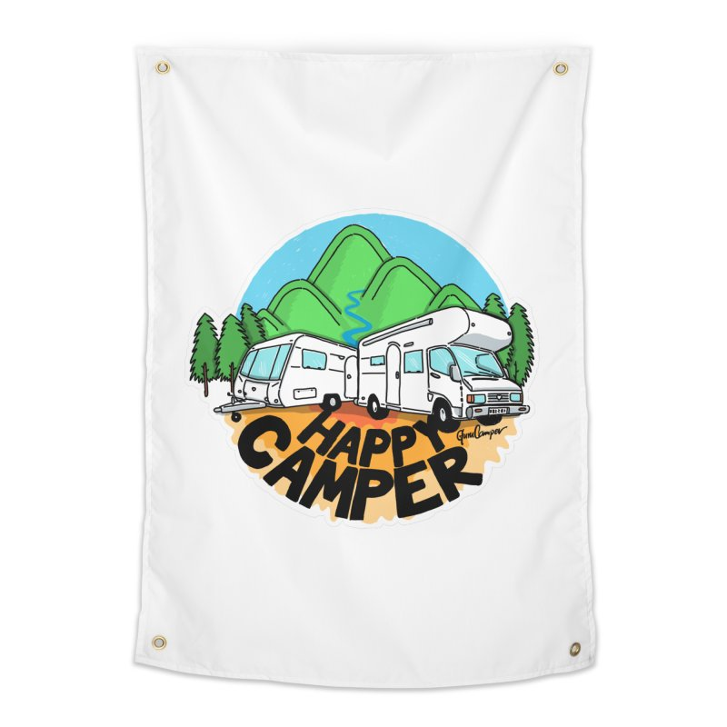 Happy Camper Mountains Home Tapestry by Illustrated GuruCamper