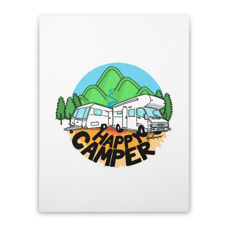 Happy Camper Mountains Home Stretched Canvas by Illustrated GuruCamper