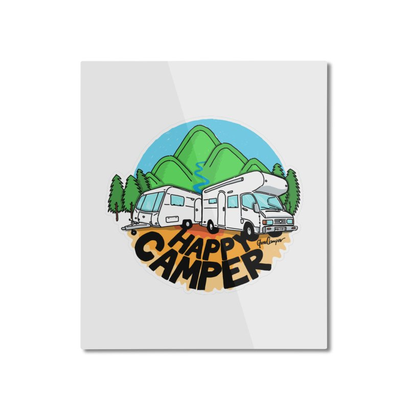 Happy Camper Mountains Home Mounted Aluminum Print by Illustrated GuruCamper