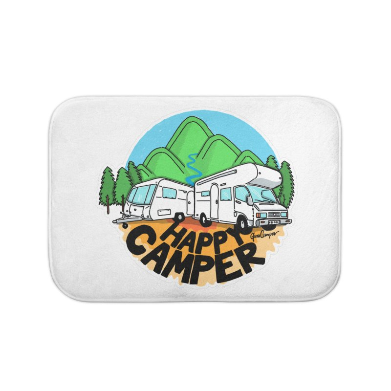 Happy Camper Mountains Home Bath Mat by Illustrated GuruCamper
