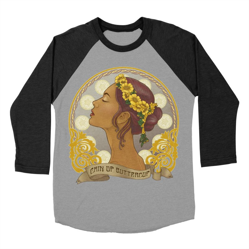 Chin Up Buttercup Women's Baseball Triblend Longsleeve T-Shirt by Haciendo Designs's Artist Shop