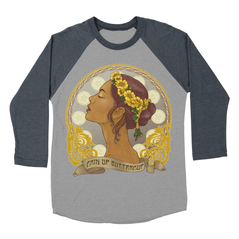 Chin Up Buttercup Women's Baseball Triblend T-Shirt by Haciendo Designs's Artist Shop
