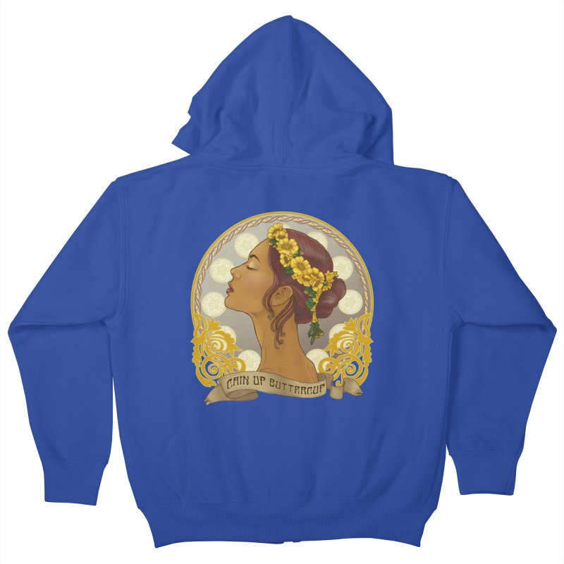 Chin Up Buttercup Kids Zip-Up Hoody by Haciendo Designs's Artist Shop
