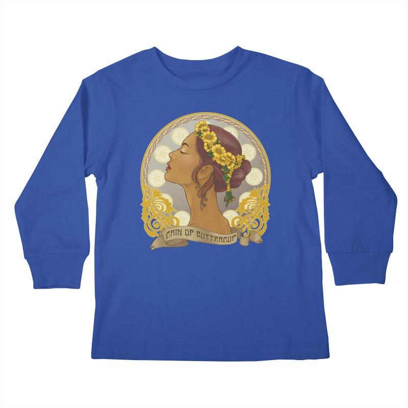 Chin Up Buttercup Kids Longsleeve T-Shirt by Haciendo Designs's Artist Shop