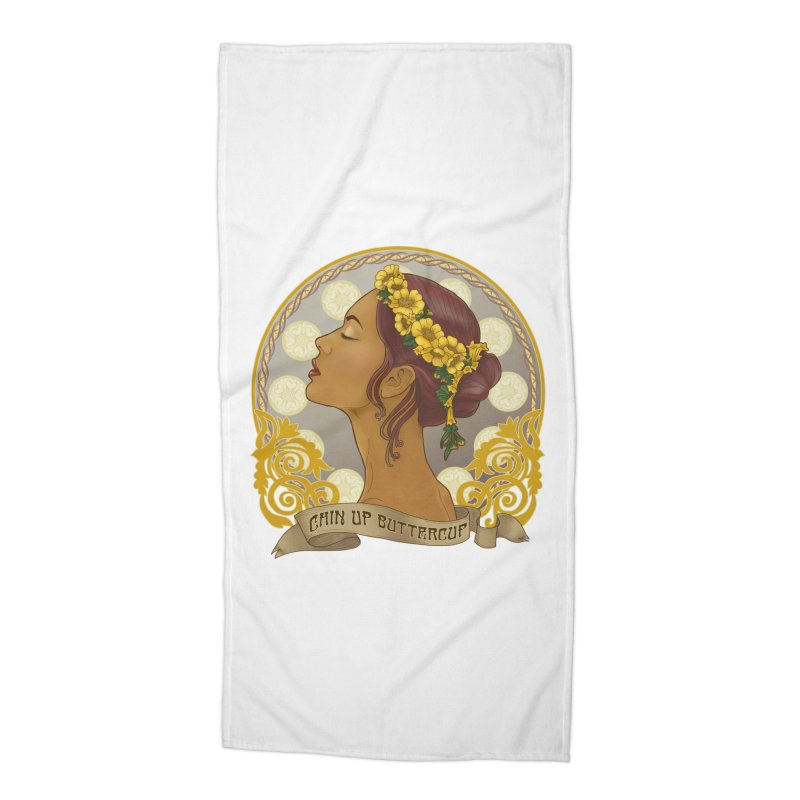 Chin Up Buttercup Accessories Beach Towel by Haciendo Designs's Artist Shop