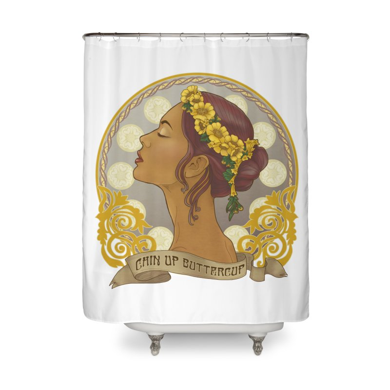 Chin Up Buttercup Home Shower Curtain by Haciendo Designs's Artist Shop