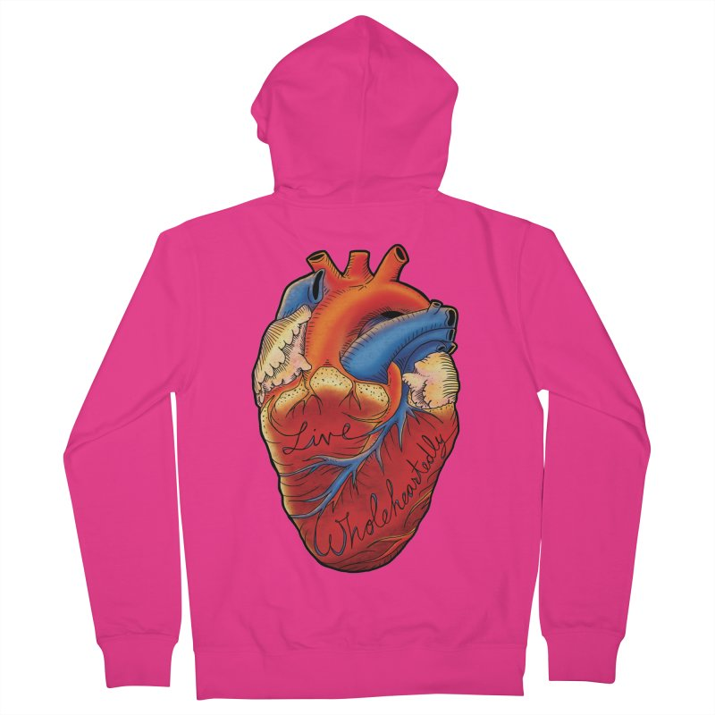 Live Wholeheartedly Men's French Terry Zip-Up Hoody by Haciendo Designs's Artist Shop