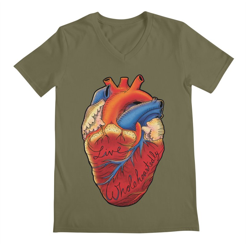 Live Wholeheartedly Men's Regular V-Neck by Haciendo Designs's Artist Shop