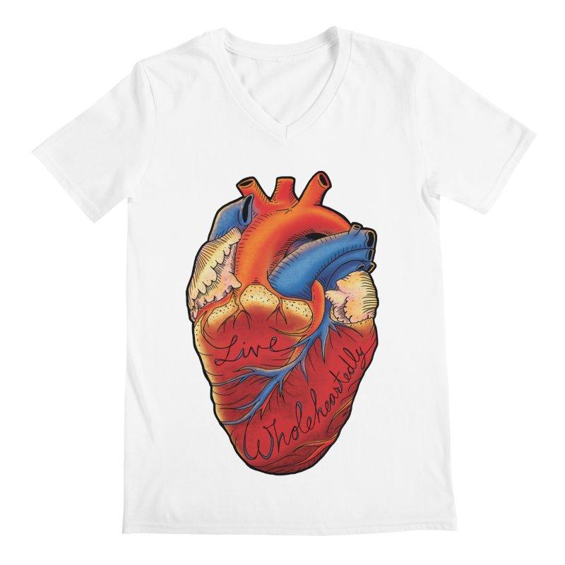 Live Wholeheartedly Men's V-Neck by Haciendo Designs's Artist Shop