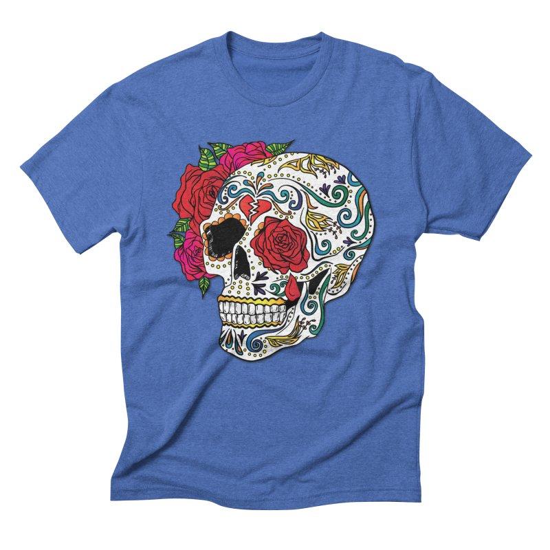 Heartbreak Sugar Skull Men's T-Shirt by Haciendo Designs's Artist Shop