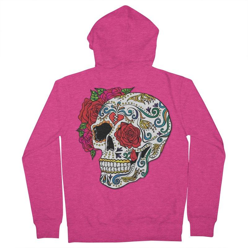 Heartbreak Sugar Skull Women's French Terry Zip-Up Hoody by Haciendo Designs's Artist Shop