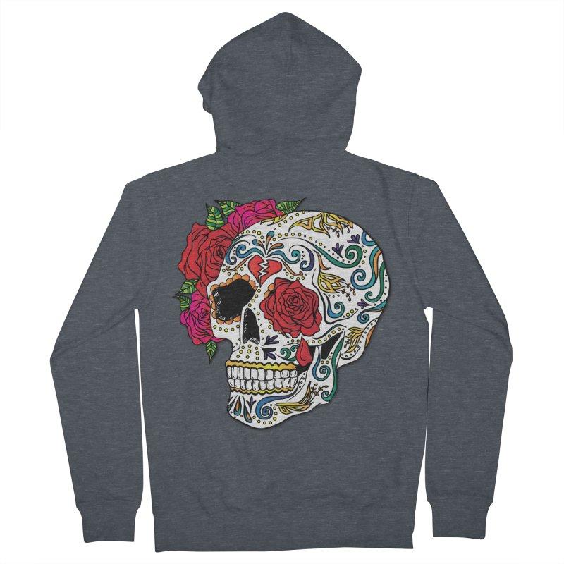 Heartbreak Sugar Skull Men's French Terry Zip-Up Hoody by Haciendo Designs's Artist Shop