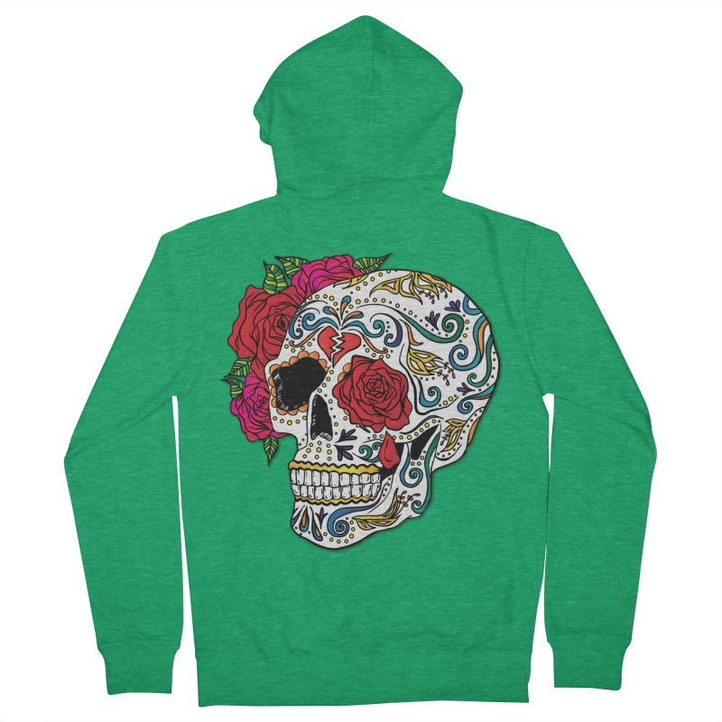 Heartbreak Sugar Skull Men's French Terry Zip-Up Hoody by Haciendo Designs's Artist Shop