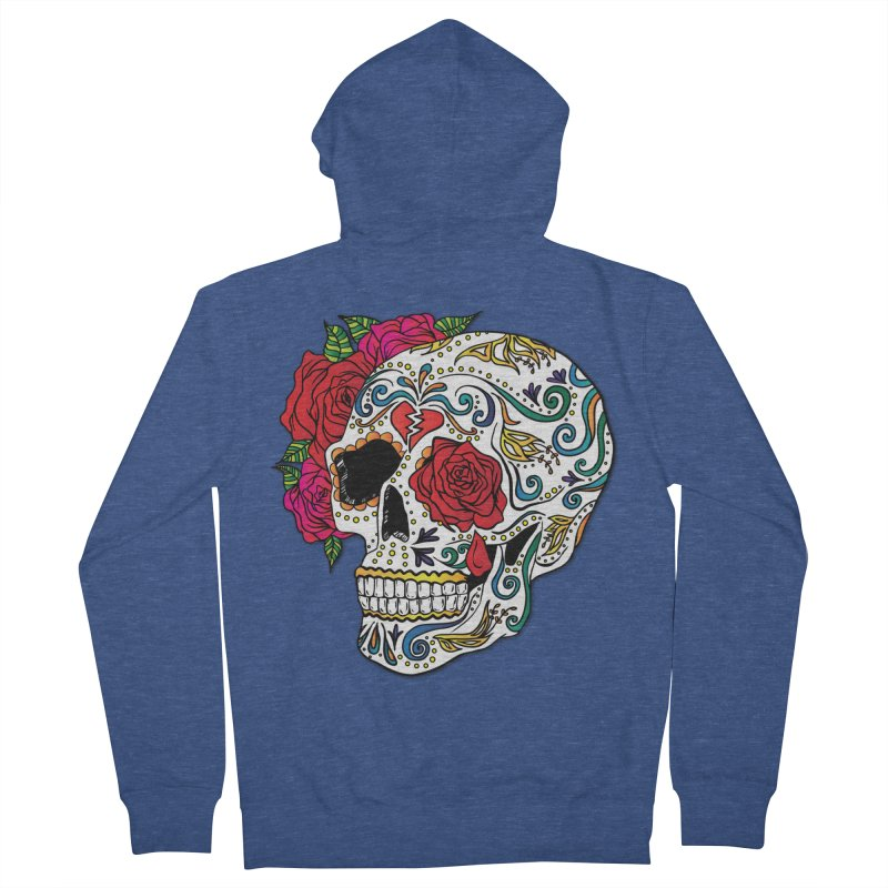 Heartbreak Sugar Skull Men's Zip-Up Hoody by Haciendo Designs's Artist Shop