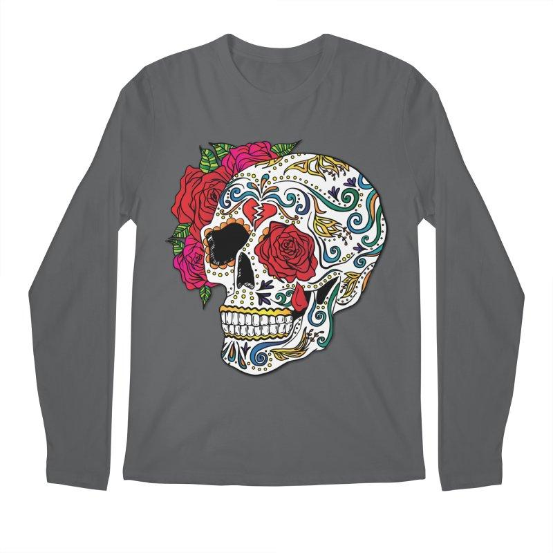 Heartbreak Sugar Skull Men's Regular Longsleeve T-Shirt by Haciendo Designs's Artist Shop