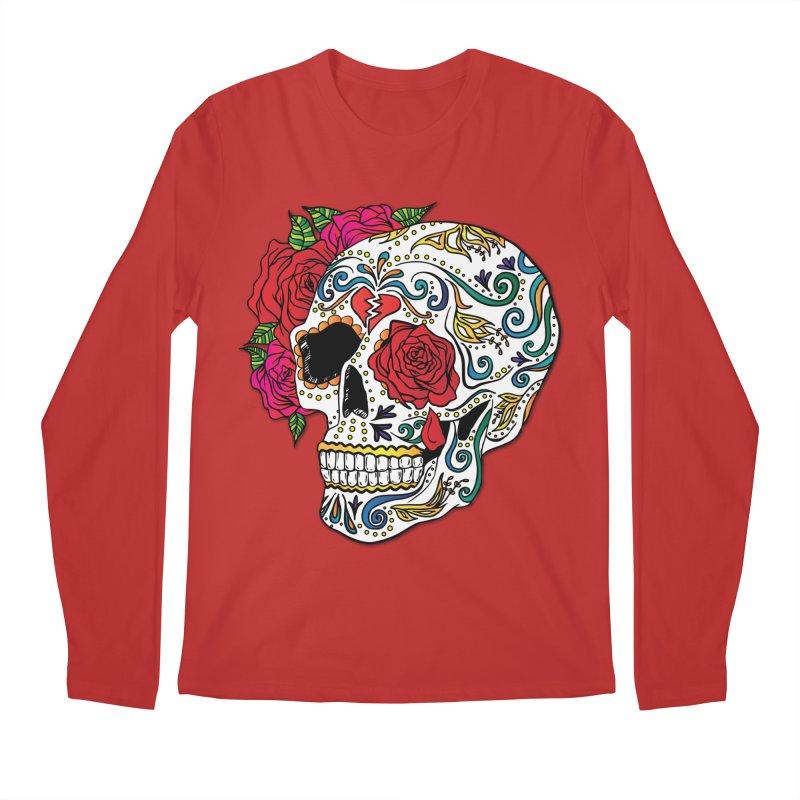 Heartbreak Sugar Skull Men's Longsleeve T-Shirt by Haciendo Designs's Artist Shop