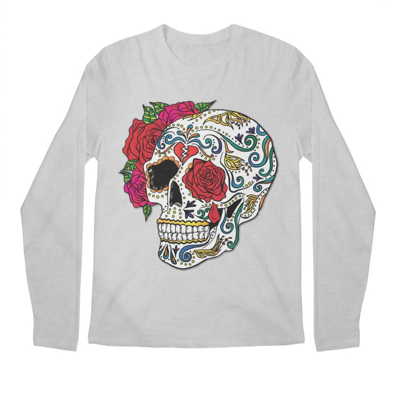 Heartbreak Sugar Skull Men's Regular Longsleeve T-Shirt by Haciendo Designs's Artist Shop