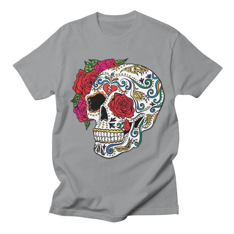 Heartbreak Sugar Skull Men's Regular T-Shirt by Haciendo Designs's Artist Shop