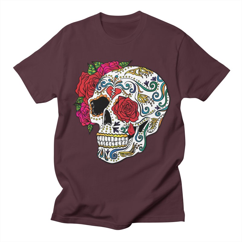 Heartbreak Sugar Skull Men's Regular T-Shirt by Haciendo Designs's Artist Shop