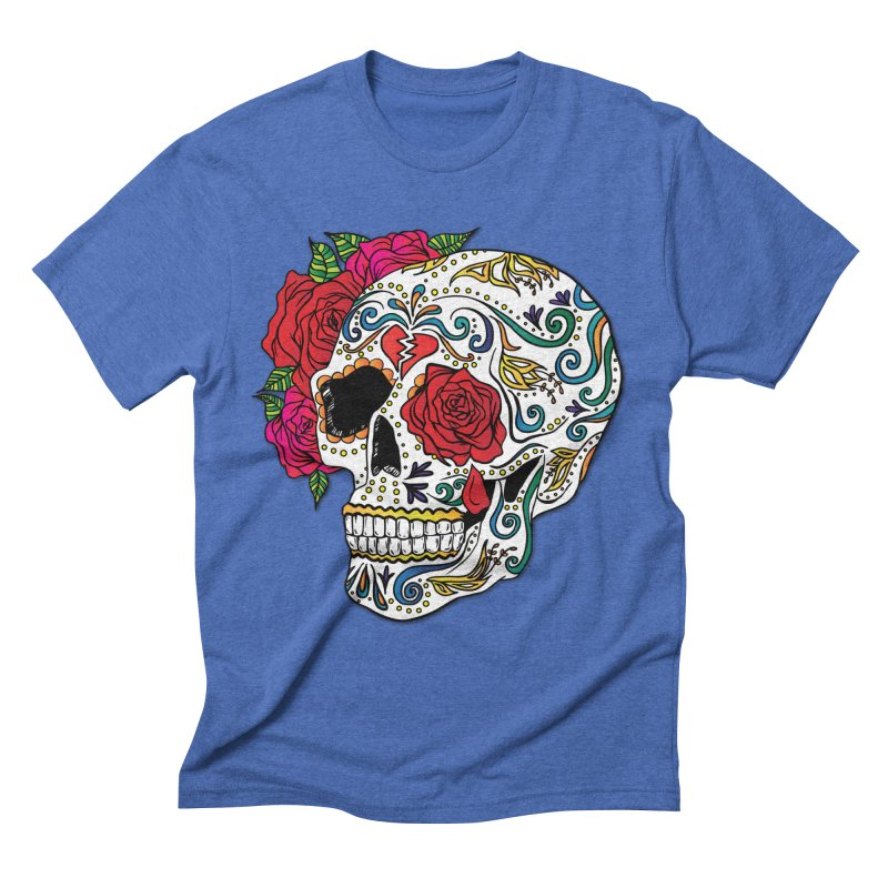 Heartbreak Sugar Skull Men's Triblend T-Shirt by Haciendo Designs's Artist Shop