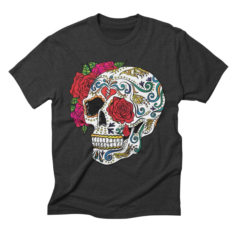 Heartbreak Sugar Skull Men's Triblend T-Shirt by Haciendo Designs's Artist Shop