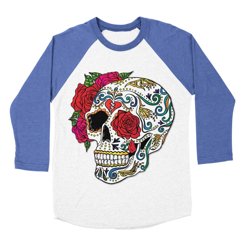 Heartbreak Sugar Skull Women's Baseball Triblend Longsleeve T-Shirt by Haciendo Designs's Artist Shop