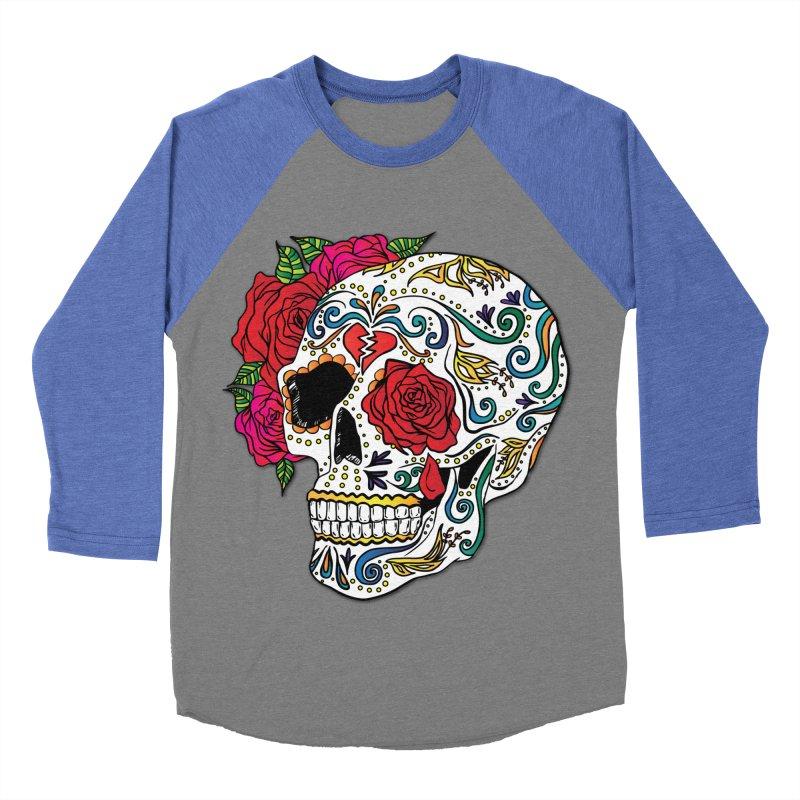 Heartbreak Sugar Skull Women's Baseball Triblend T-Shirt by Haciendo Designs's Artist Shop