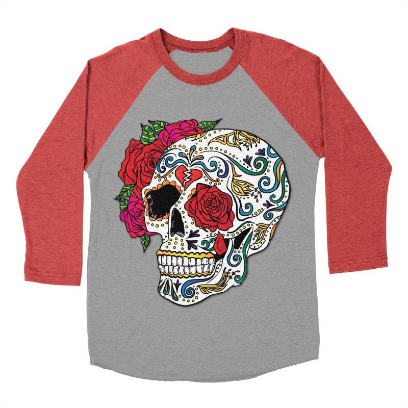 Heartbreak Sugar Skull Women's Baseball Triblend Longsleeve T-Shirt by Haciendo Designs's Artist Shop