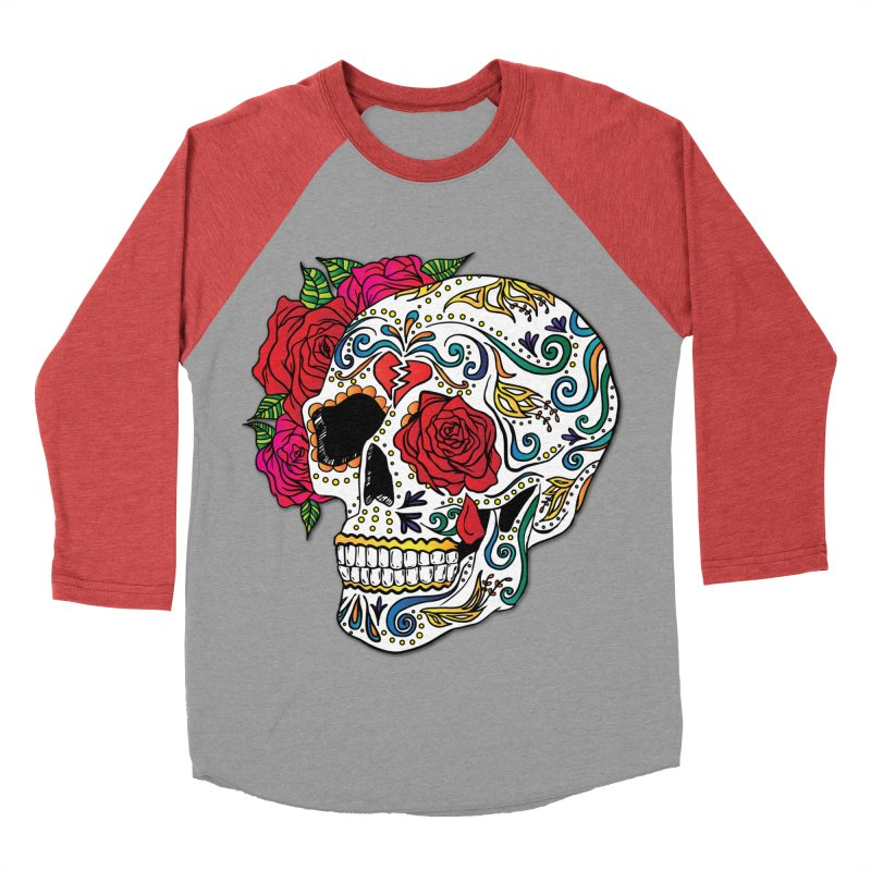 Heartbreak Sugar Skull Men's Baseball Triblend Longsleeve T-Shirt by Haciendo Designs's Artist Shop