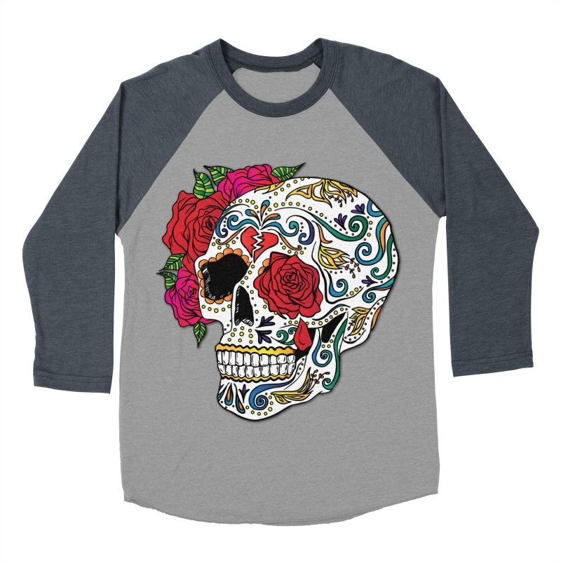 Heartbreak Sugar Skull Men's Baseball Triblend T-Shirt by Haciendo Designs's Artist Shop