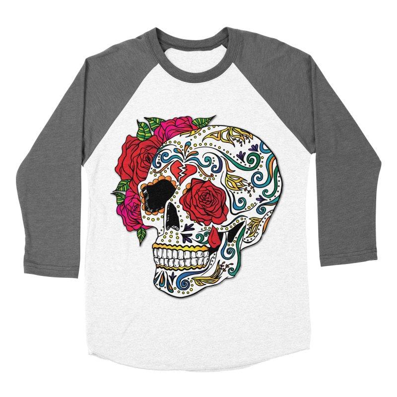 Heartbreak Sugar Skull Men's Baseball Triblend T-Shirt by Haciendo Designs's Artist Shop