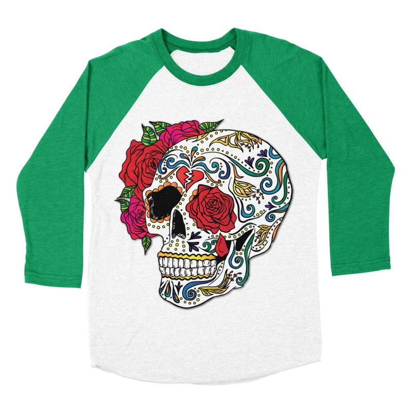 Heartbreak Sugar Skull Men's Baseball Triblend Longsleeve T-Shirt by Haciendo Designs's Artist Shop