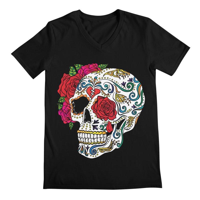 Heartbreak Sugar Skull Men's V-Neck by Haciendo Designs's Artist Shop