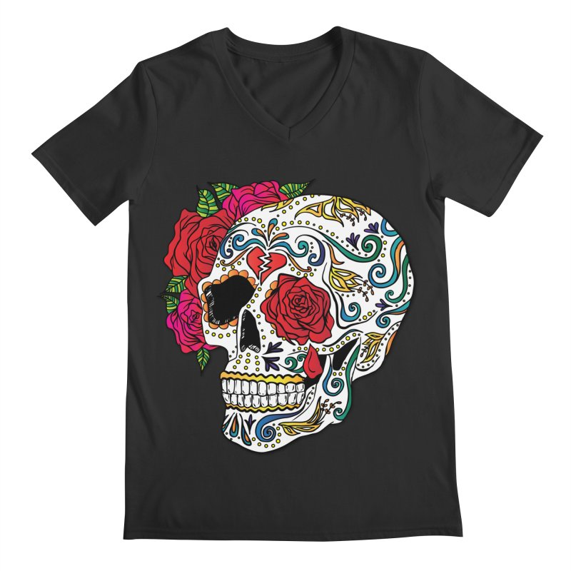 Heartbreak Sugar Skull Men's Regular V-Neck by Haciendo Designs's Artist Shop