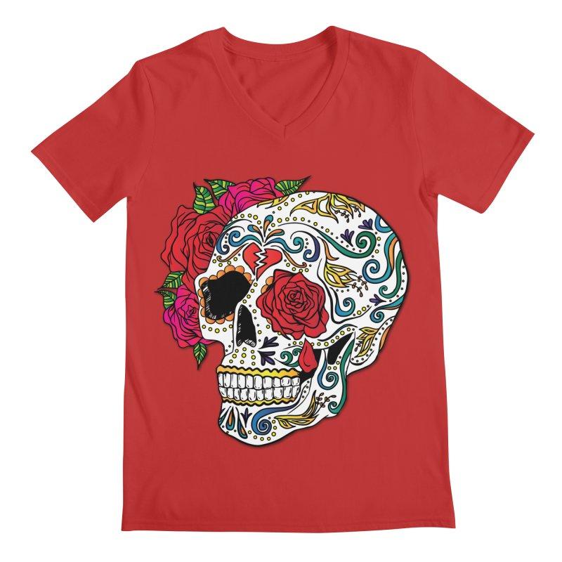 Heartbreak Sugar Skull Men's Regular V-Neck by Haciendo Designs's Artist Shop