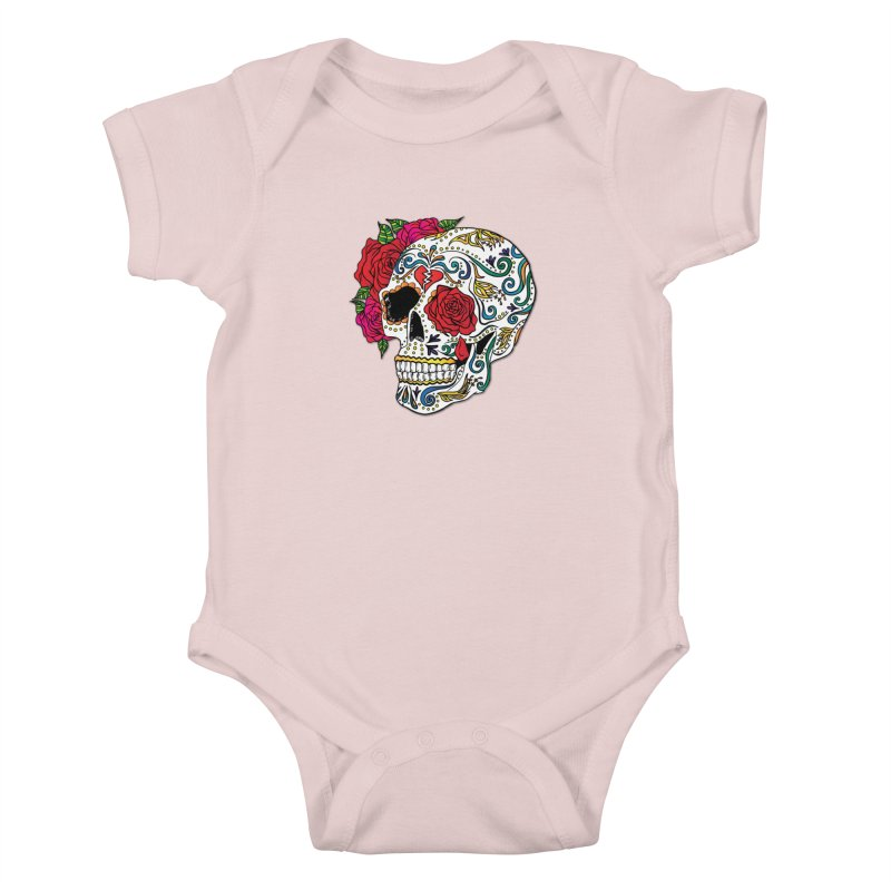 Heartbreak Sugar Skull Kids Baby Bodysuit by Haciendo Designs's Artist Shop