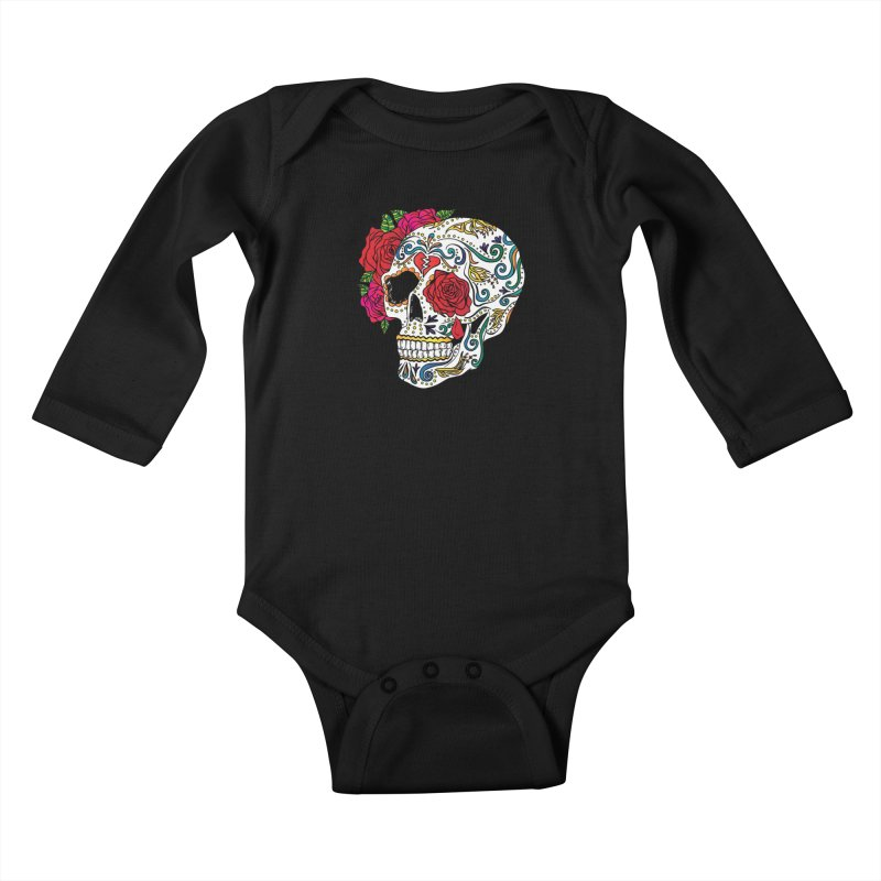 Heartbreak Sugar Skull Kids Baby Longsleeve Bodysuit by Haciendo Designs's Artist Shop