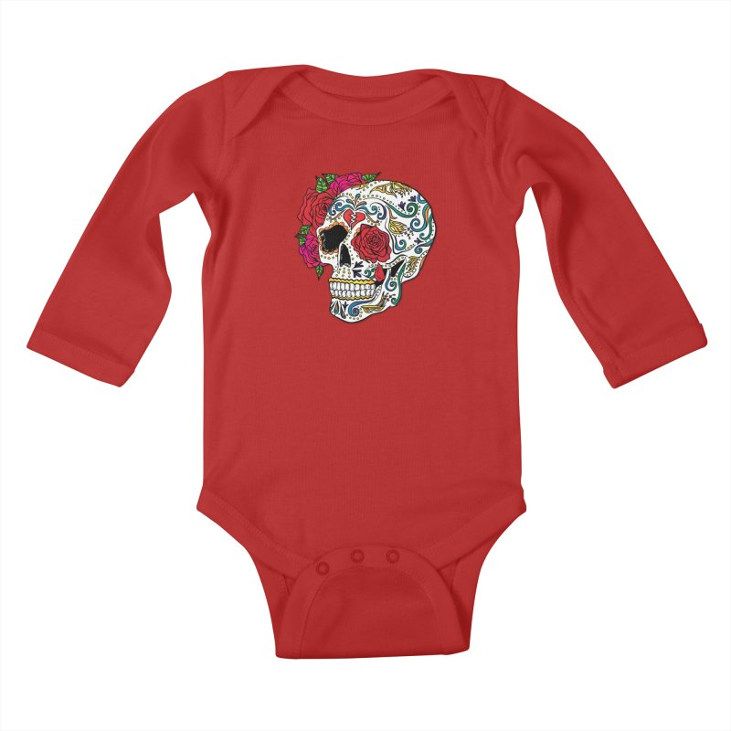 Heartbreak Sugar Skull Kids Baby Longsleeve Bodysuit by Haciendo Designs's Artist Shop