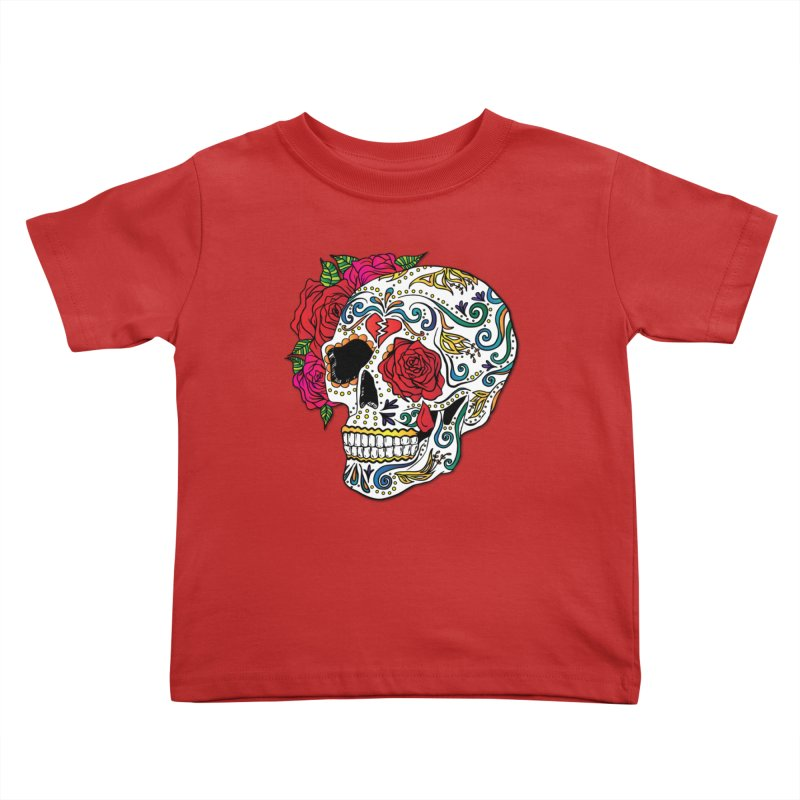 Heartbreak Sugar Skull Kids Toddler T-Shirt by Haciendo Designs's Artist Shop
