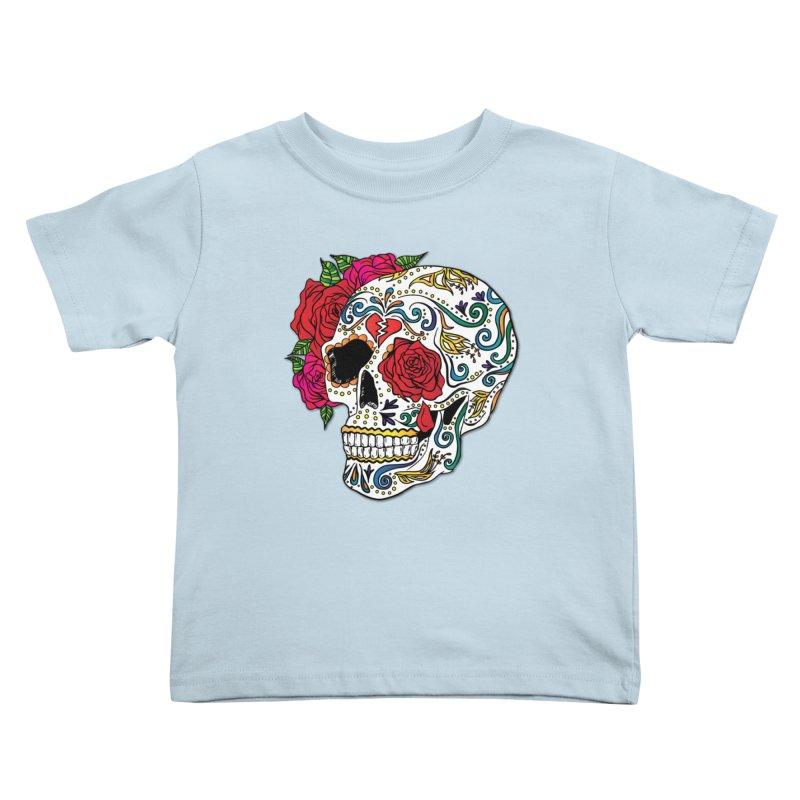 Heartbreak Sugar Skull Kids Toddler T-Shirt by Haciendo Designs's Artist Shop